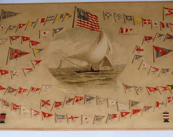 Frederick Cozzens Chromolithograph of Signal Flags from American Yachts