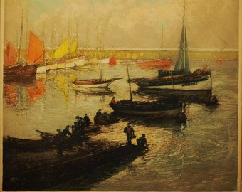 Signed Numbered Copper Engraving of Tuna Boats at Harbor, Concarneau, France