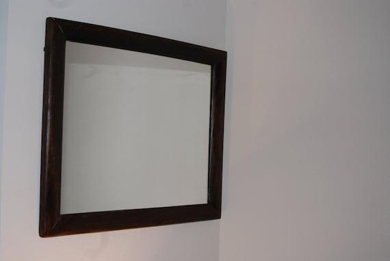 Ca 1880 Solid Black Walnut Mirror