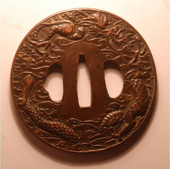 Reserved for M. - Japanese Samurai Sword Guard Edo Period Copper with Dragon and Waves Tsuba