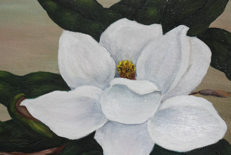 Magnolia Flower Painting 1961 magnolia blossom painted
