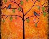 Art Print 8X8 Signed Tangerine Sky Orange Tree of Life