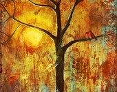 Art Print Red Love Birds in a Tree Sunshine Signed 8X10