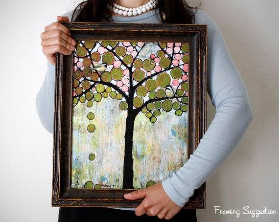 Art Print Signed Large 11X14 Chickadee Bird Tree