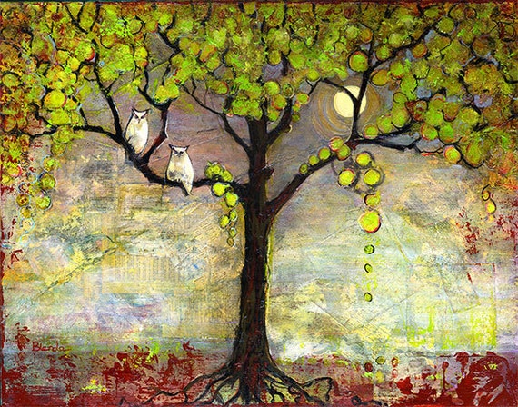 Owl Decor, Giclee Art Print, Tree Painting, Moon Night, Tree of Life, For Couples | Various Sizes