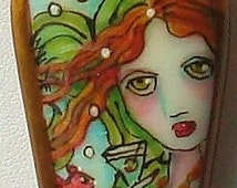 A Mermaid    Nautical Fused Glass Focal Stone Pearl Necklace and Earrings   dmfsparkles
