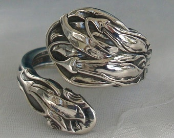 Flowers Gorham Vintage Sterling Silver Spoon Ring dmfsparkles