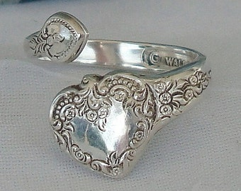 SMALL RARE Heart  Vintage Wallace Sterling Spoon Ring  dmfsparkles