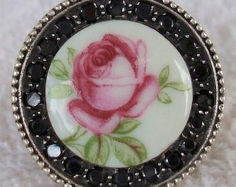Vintage Porcelain Rose Crystal Sterling Silver Ring dmfsparkles