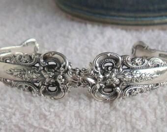 Vintage Sterling Silver Grand Baroque Cuff Bracelet  dmfsparkles
