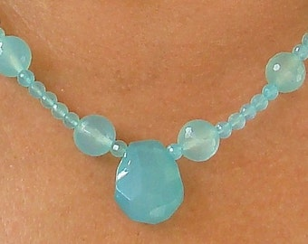 Sea Chalcedony Stone   Sterling Necklace   High Quality  dmfsparkles