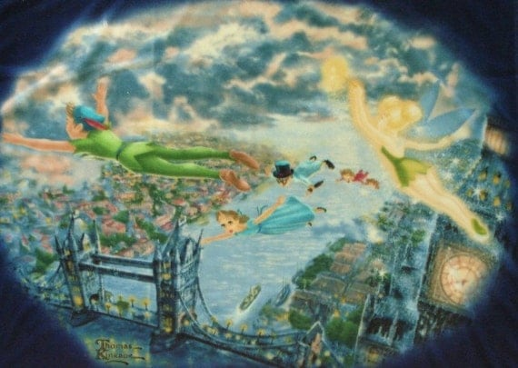 Kinkade Peter Pan Tinkerbell Satin Fleece  Blanket Cover  dmfsparkles