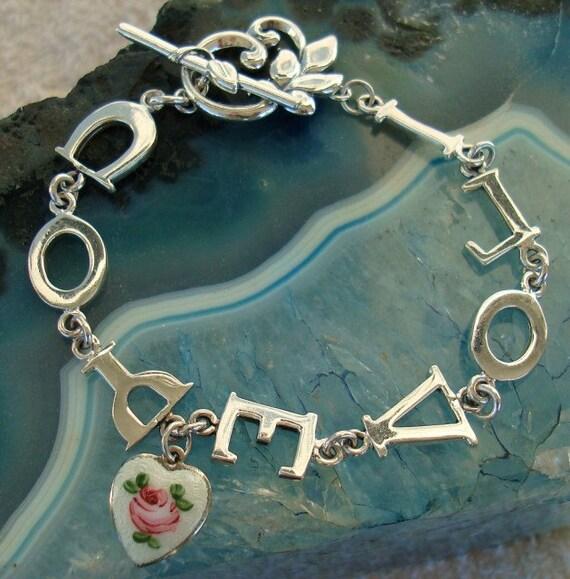 I LOVE YOU Vintage Sterling Silver Heart Bracelet  dmfsparkles