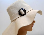 Wide Brimmed Canvas Sun Hat with Vintage Flower Buckle - Made to Order