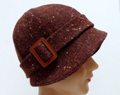 Cloche Hat in Chocolate Brown Vintage Tweed with Leather Buckle - Made to Order