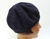Beret in Midnight Blue and White Wool Crepe - Made to Order