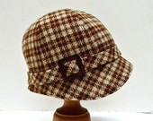 Chestnut Brown Plaid Cloche with Vintage Leather Buckle - Size L