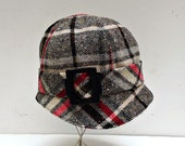 Cloche Hat in Vintage Plaid Wool with Black Wooden Buckle - Made to Order in Your Size