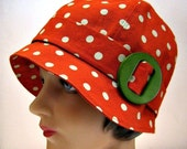 1920s Cloche in Clay Polka Dot Linen with Vintage Wooden Buckle - Made to Order