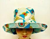 SALE - Retro Sun Hat in Radio Cotton/Linen Fabric - Size L