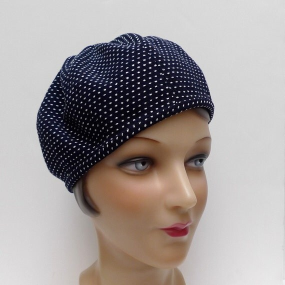 1930 Style Beret in Midnight Blue and White Wool Crepe