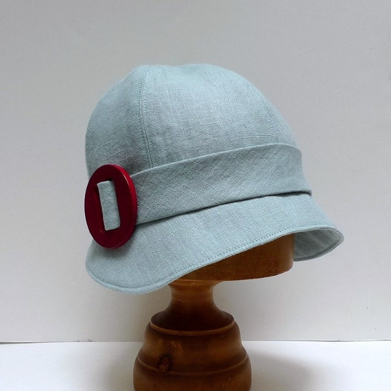 Cloche Hat in Robins Egg  Blue Linen with Dark Red Buckle - Made to Order