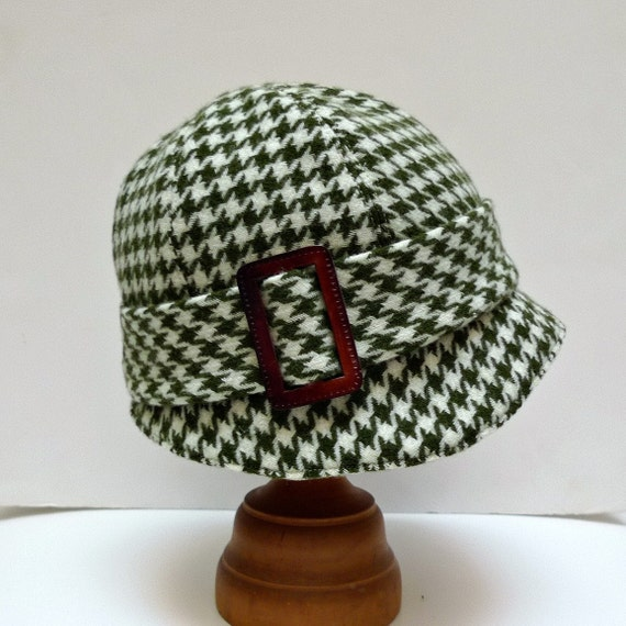 Cloche Hat in Vintage Houndstooth Wool with Leather Buckle