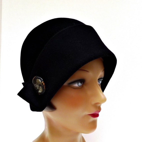 RESERVED - Cloche Hat in Black Felt with Art Deco Button - Made to Order