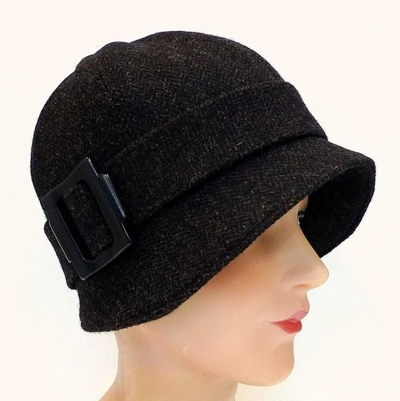 1920s Cloche Hat in Vintage Espresso Herringbone Tweed - Made to Order