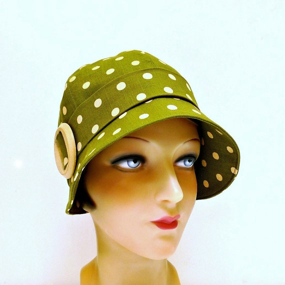 Cloche Hat - Olive Polka Dot Linen with Vintage Wooden Buckle -Size L