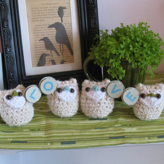 Owl Love Set of 4.... Handmade Luxury Fiber Amigurumis & Patterns