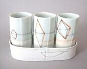 Translucent porcelain desert wine cup set