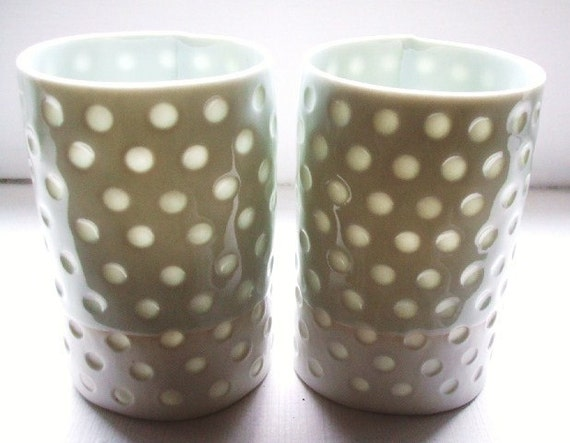 Spoty - 2 Translucent porcelain cups