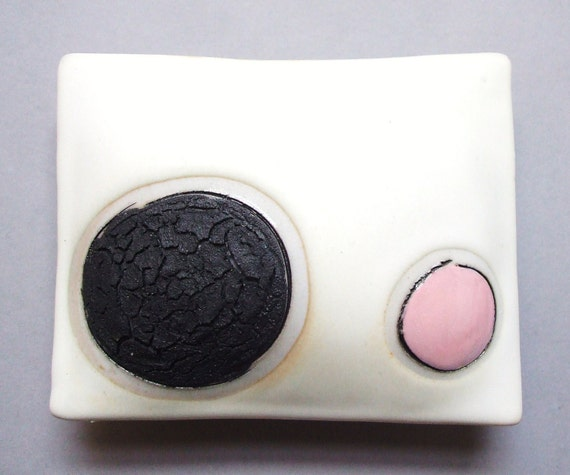 Black and Pink - porcelain wall pillow