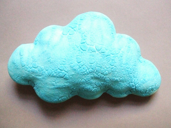 Turquoise crusty cloud - porcelain wall cloud pillow