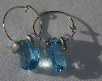 Baroque Aquamarine Crystal Hooped earrings