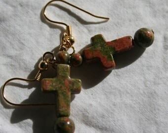 Unakite Cross earrings