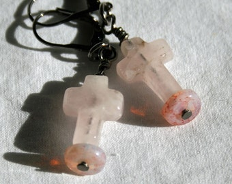 Rose Quartz Cross earrings