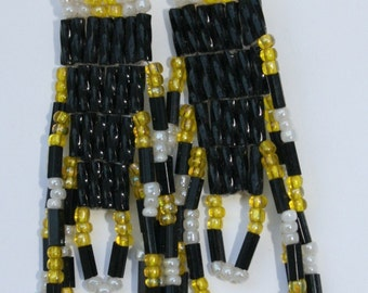 Black, Yellow and White brick stitch beaded earrings