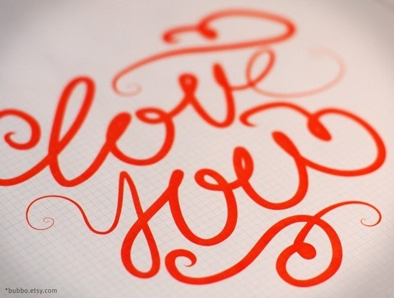 PRINTABLE POSTER / love you letters / calligraphy