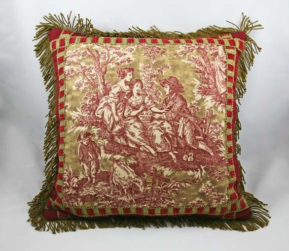 Decorative Pillow Cover Toile Pillow Barkcloth Olive Green