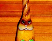 Handpainted Original Designed TWISTED EAR Easter Bunny Gourd Ornament No. 1