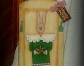 Hand painted  Primitive Penny Rug Style Bunny Plaque-Tole Painting-Decorative Painting-Easter Decor-Folk Art-Primitive-Wooden Plaque-ofg