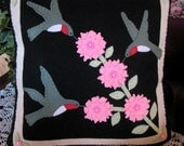 Hand Stitched 18 X 18 HUMMINGBIRDS and FLOWERS Wool-Felt Decorative Pillow-Wool Applique-Folk Art-Primitive Pillow-Fiber Art-OFG Team