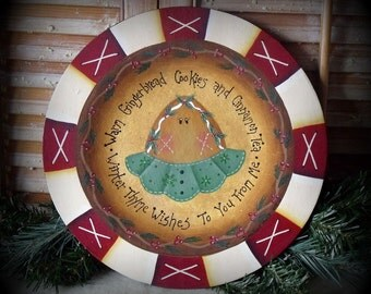 Handpainted Primitive Holiday Wooden Gingerbread Plate Decoration-Home Decor-Collectible Plate-Christmas Plate-Folk Art-Primitive-ofg