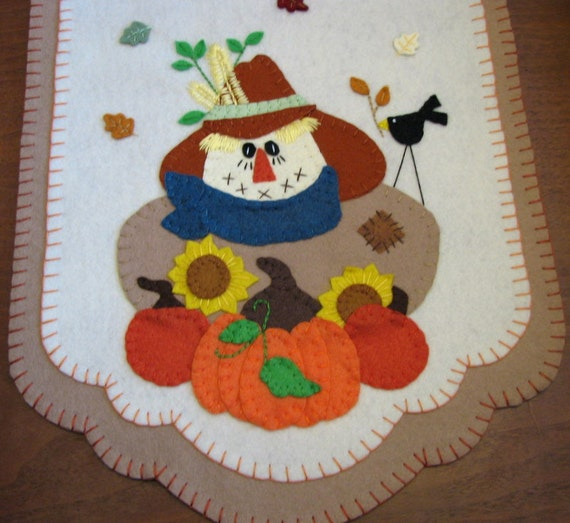 """Hand Stitched Primitive Fall Scarecrow. Pumpkins, and Sunflowers Wool-Felt Penny Rug - Table Runner...42""""x13"""""""