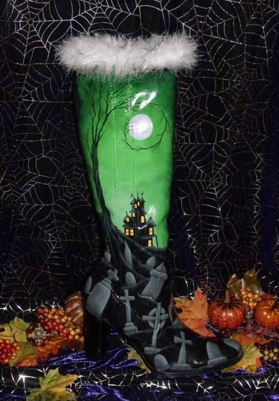 Hand Painted Spooky Halloween Haunted House and Graveyard Scene Witch's Boot.....OFG Team