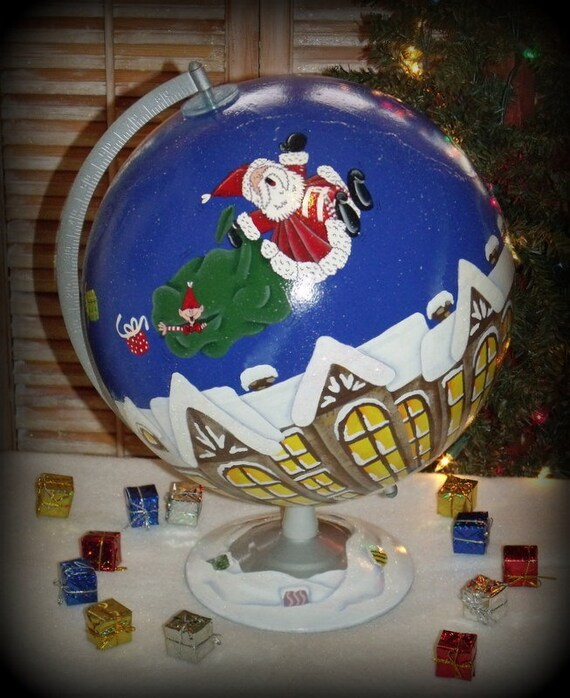 Large Hand Painted SANTA and ELF Christmas Village Scene World GLOBE.....ofg team