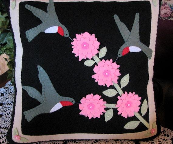 Hand Stitched 18 X 18 HUMMINGBIRDS and FLOWERS Wool-Felt Decorative Pillow-Wool Applique-Folk Art-Primitive Pillow-Fiber Art-OFG Team