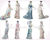 Victorian Ladies 02 atc/aceo digital collage sheet png files